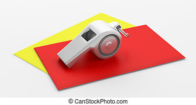 Whistle and red yellow cards isolated on white background....