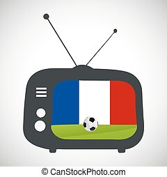 Soccer football retro television with france flag