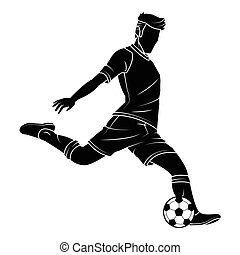 Soccer football silhouettes player