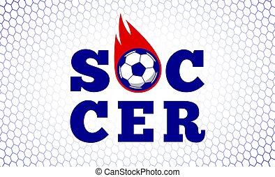 Soccer football sport game fire ball design illustration on white goal net backdrop