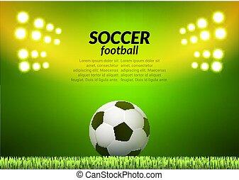 Soccer football stadium backgorund. Vector ball on green field, sport illustration