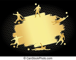 Soccer football stadium field with player silhouettes set on gold blank flat background
