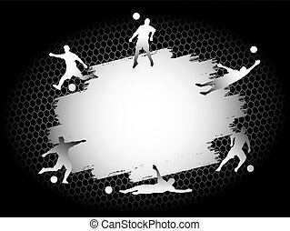 Soccer football stadium field with player silhouettes set on silver flat background