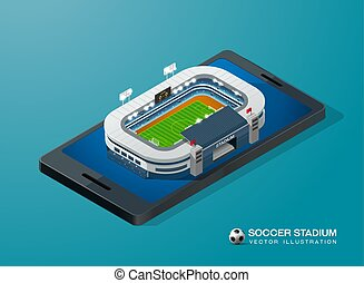 soccer football stadium on smart phone isometric vector illustration