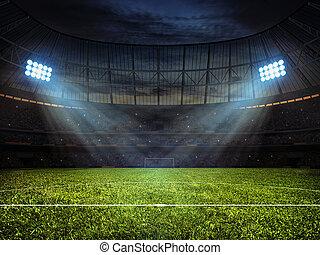 Soccer football stadium with floodlights - Sport concept...