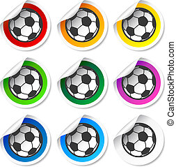 Soccer football stickers, labels set