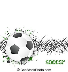 Soccer (football) vector background with ball and grass.