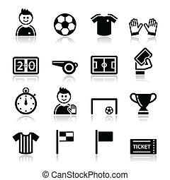 Soccer / football vector icons set - Football modern black...