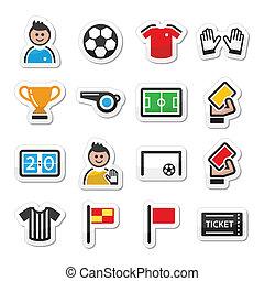 Soccer / football vector icons set - Football modern...
