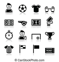 Soccer / football vector icons set - Football modern black...