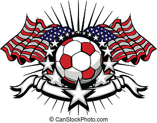 Soccer Football Vector Template - Stars and Stripes...