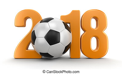 Soccer football with 2018. Image with clipping path