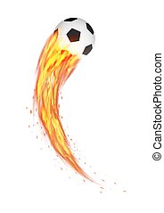 soccer football with a curve burning fire vector
