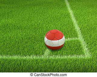 Soccer football with Austrian flag