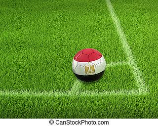 Soccer football with Egyptian flag