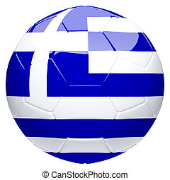 Soccer football with Greece flag 3d rendering
