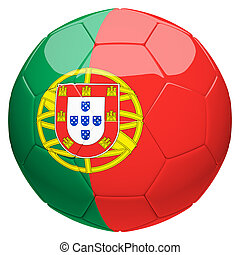 Soccer football with Portugal flag 3d rendering