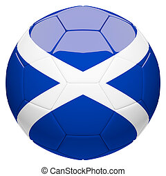 Soccer football with Scotland flag 3d rendering