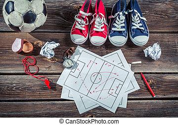 Soccer formation tactics on school desk