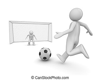 Soccer forward in penalty area - 3d isolated on white...