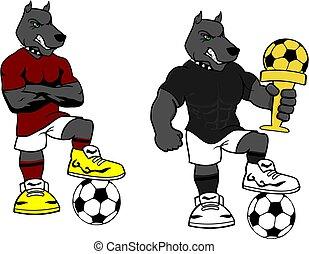soccer futbol strong dog cartoon set