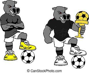 soccer futbol strong hippo cartoon set