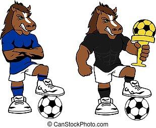 soccer futbol strong horse cartoon set