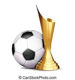 Soccer Game Award Vector. Football Ball, Golden Cup. Modern...