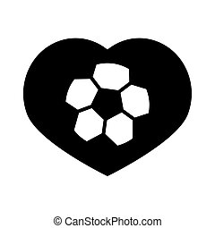 soccer game, ball in heart love, league recreational sports tournament silhouette style icon