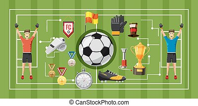 Soccer game banner horizontal, cartoon style