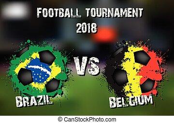 Soccer game Brazil vs Belgium