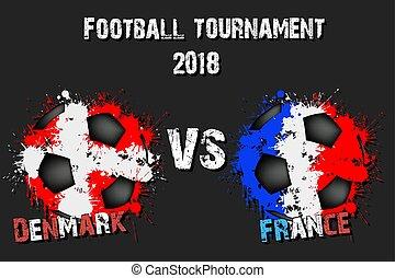 Soccer game Denmark vs France