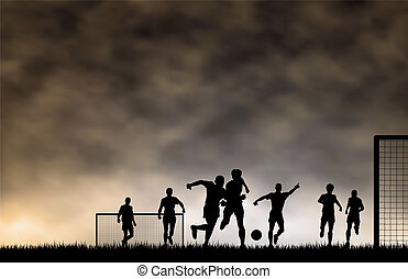 Soccer game - Editable vector illustration of men playing ...