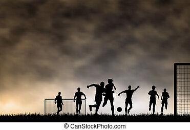 Soccer game - Editable vector illustration of men playing...