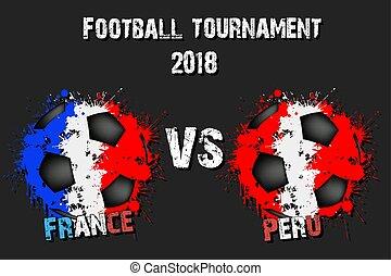 Soccer game France vs Peru
