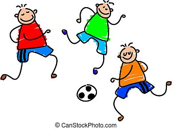 group of boys playing soccer - toddler art