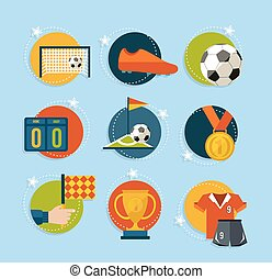 Soccer game icon set in flat style