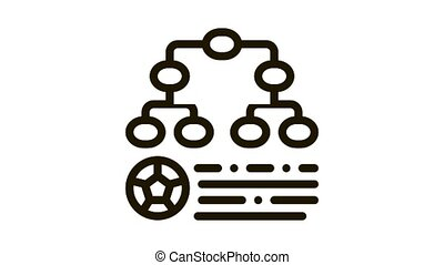 Soccer Game League Table Icon Animation. black Soccer Game League Table animated icon on white background