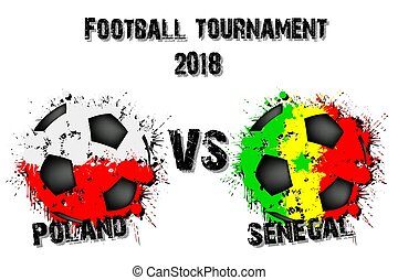 Soccer game Poland vs Senegal. Football tournament match...