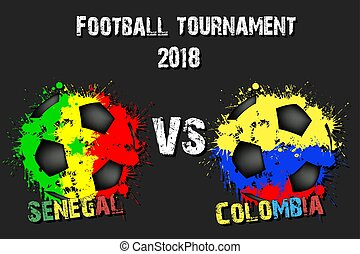 Soccer game Senegal vs Colombia. Football tournament match...