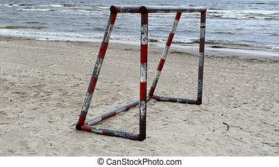 soccer gate sea sand