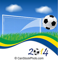 Soccer goal and ball - Football goal and soccer ball on...