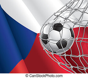 Czech flag with a soccer ball