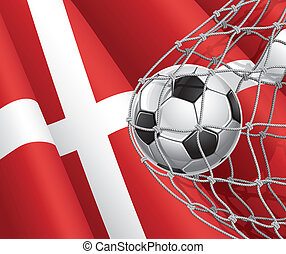 Denmark flag with a soccer ball