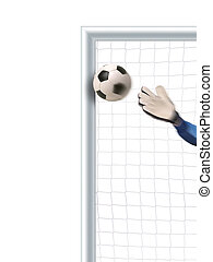 soccer goal detail - goalkeeper trying to defend and...