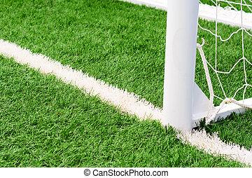 soccer goal football on green grass field