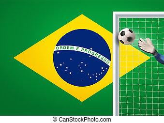 soccer goal in brazil - goalkeeper in action in brazil...