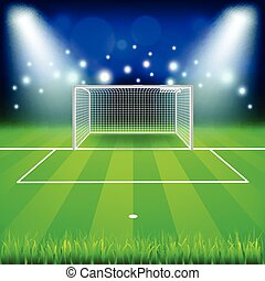 Soccer goal on field vector background - Soccer goal on...