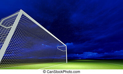 Soccer goal on the football field at night sky.