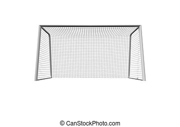 Soccer goal on white background